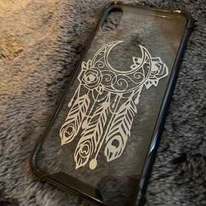 IPhone X Black & Silver Dreamcatcher Feather Case